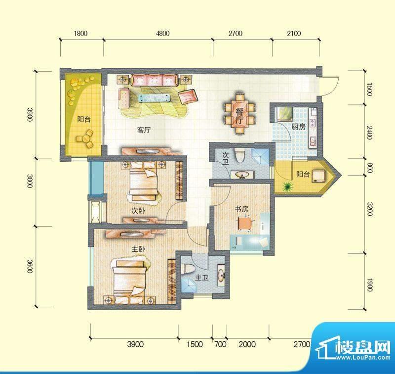 观澜尚郡二期F-2 3室面积:102.68平米