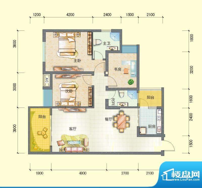观澜尚郡二期F-3 3室面积:102.68平米