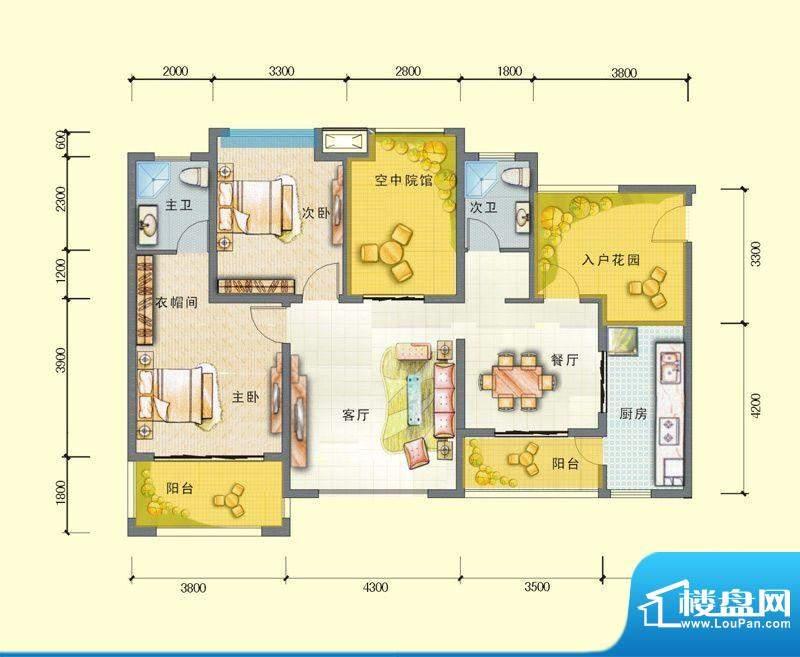 观澜尚郡二期E-4户型面积:114.87平米