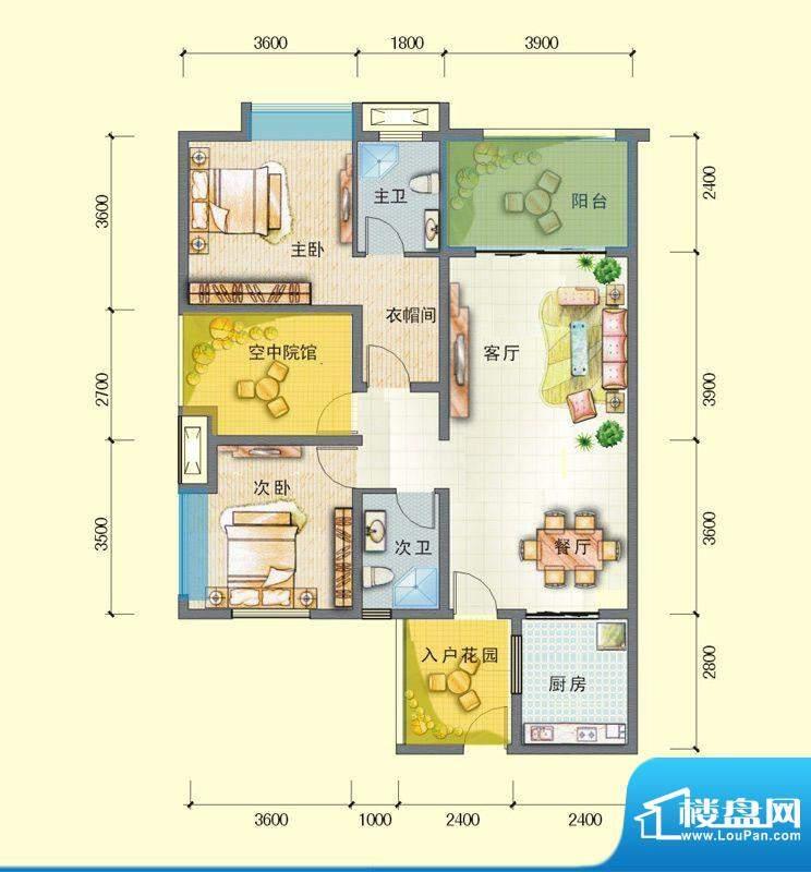 观澜尚郡二期E-2户型面积:105.73平米