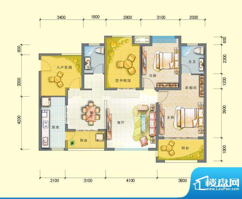 观澜尚郡二期E-1户型面积:100.36平米