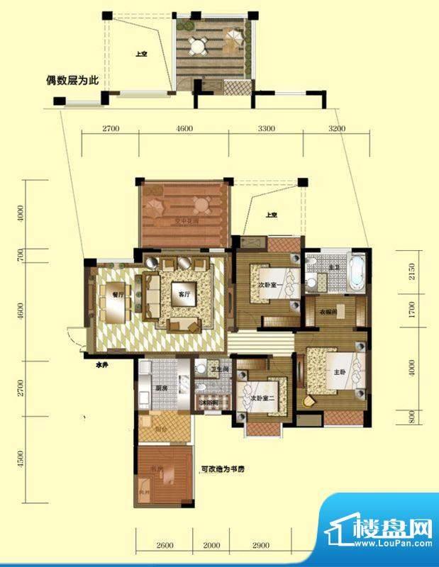 天庐B(天子界)户型面积:128.26平米