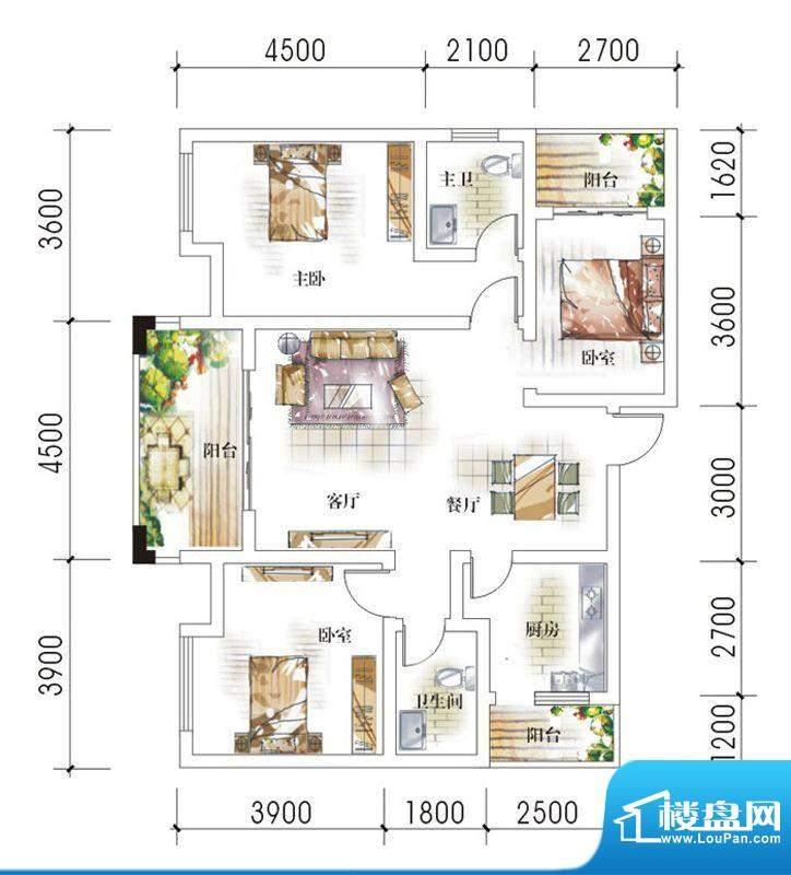 东岸十九座A1 3室2厅面积:106.30平米