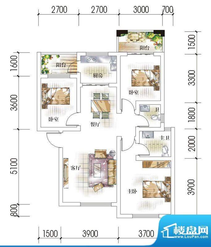 东岸十九座A2 3室2厅面积:94.00平米