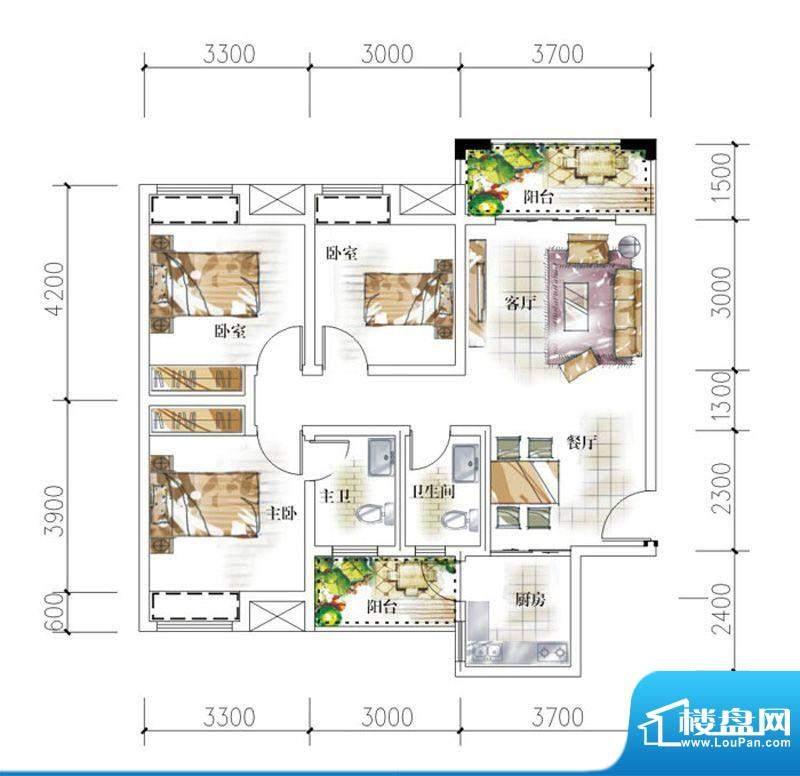 东岸十九座E1 3室2厅面积:93.10平米