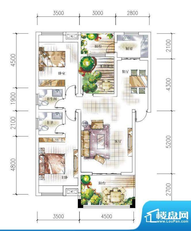 东岸十九座B3 3室2厅面积:114.50平米