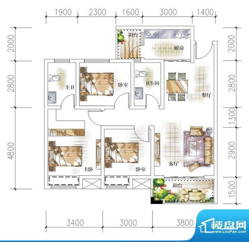 东岸十九座E2 3室2厅面积:95.80平米