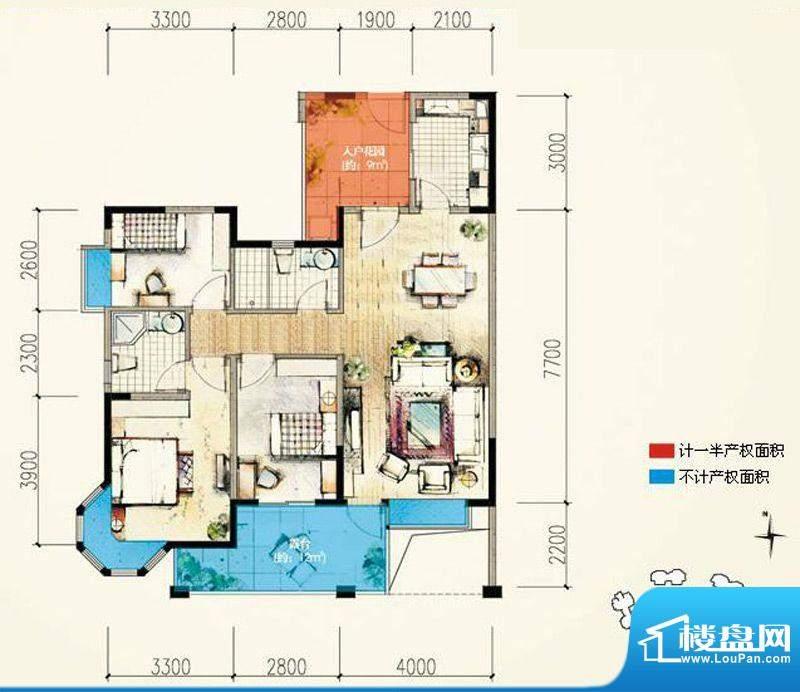 蓝光香江国际A1`奇面积:105.00平米
