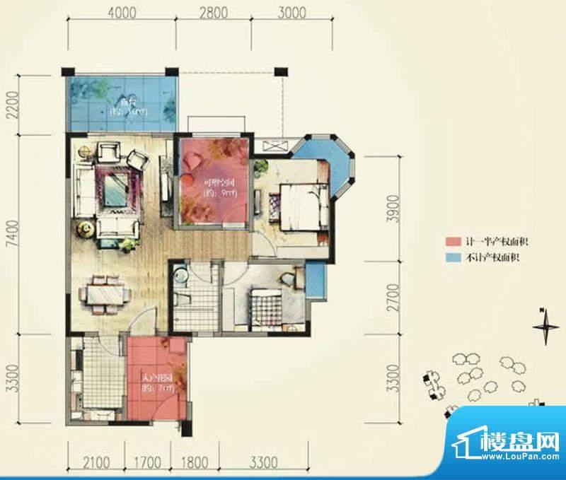 蓝光香江国际B2偶数面积:86.00平米