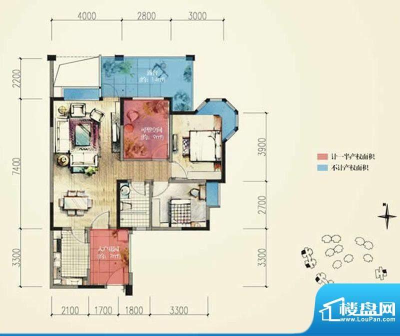 蓝光香江国际B2奇数面积:86.00平米