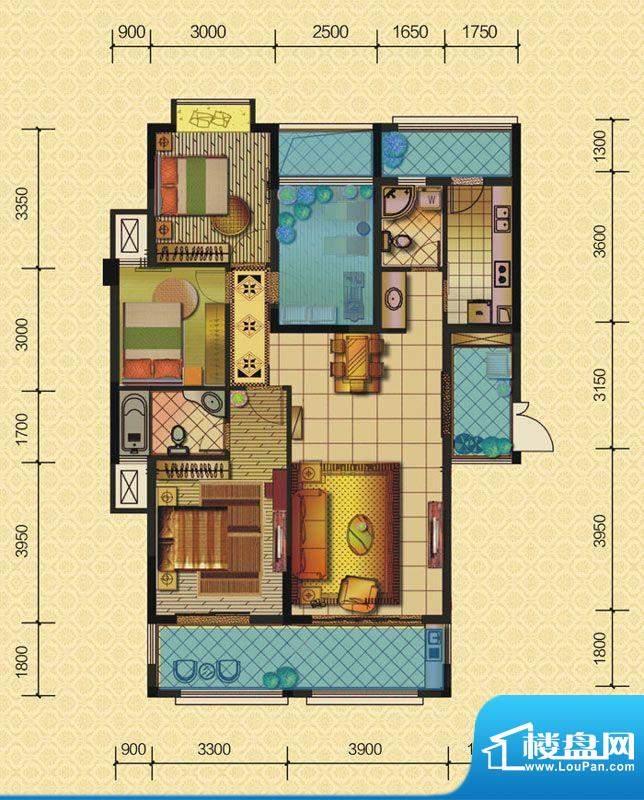 恒策幸福里A1 3室2厅面积:137.00平米