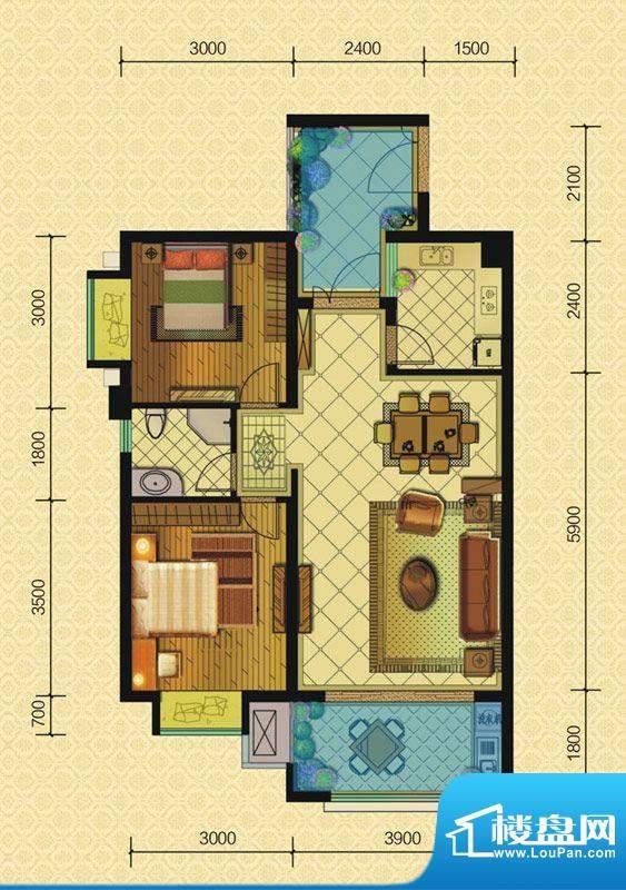 恒策幸福里A2 2室2厅面积:76.00平米
