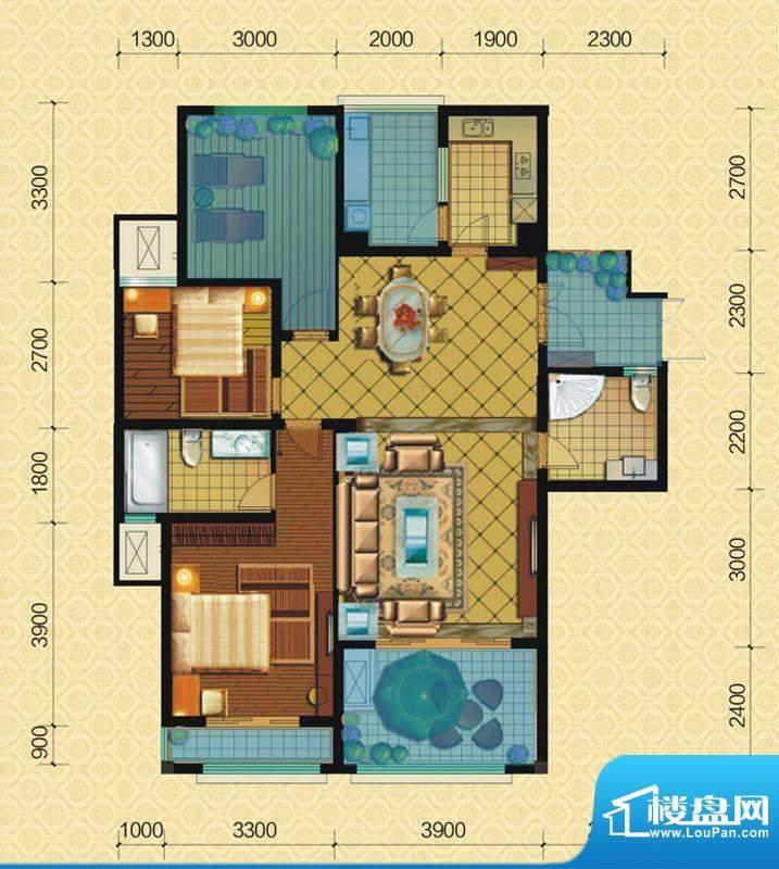 恒策幸福里A4 2室2厅面积:108.00平米