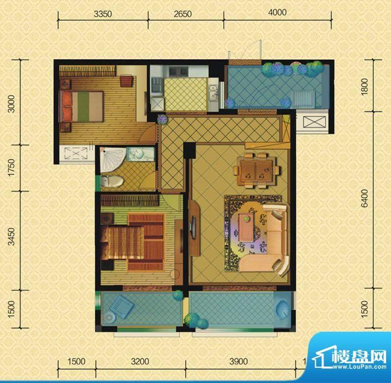 恒策幸福里A5 2室2厅面积:82.00平米