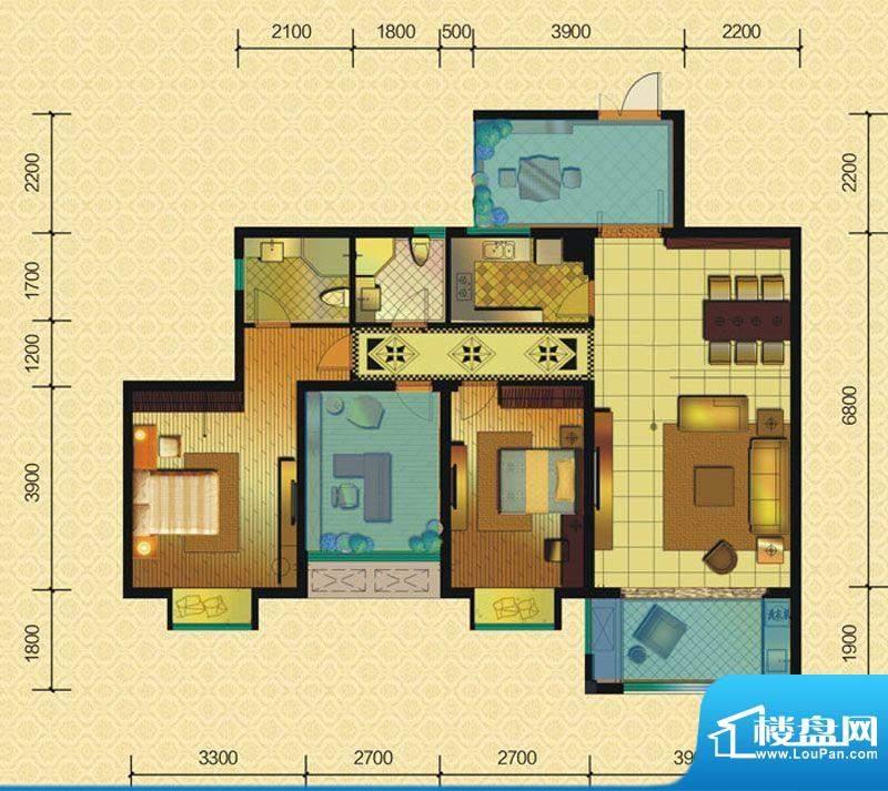恒策幸福里A6 2室2厅面积:96.00平米