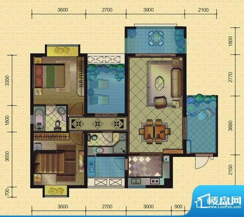 恒策幸福里A7 2室2厅面积:101.00平米
