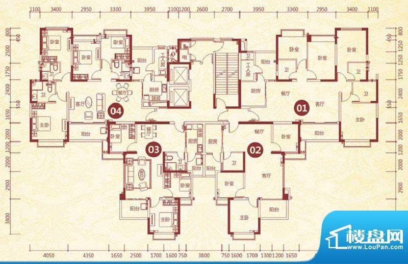 恒大绿洲4号楼标准层面积:160.03平米