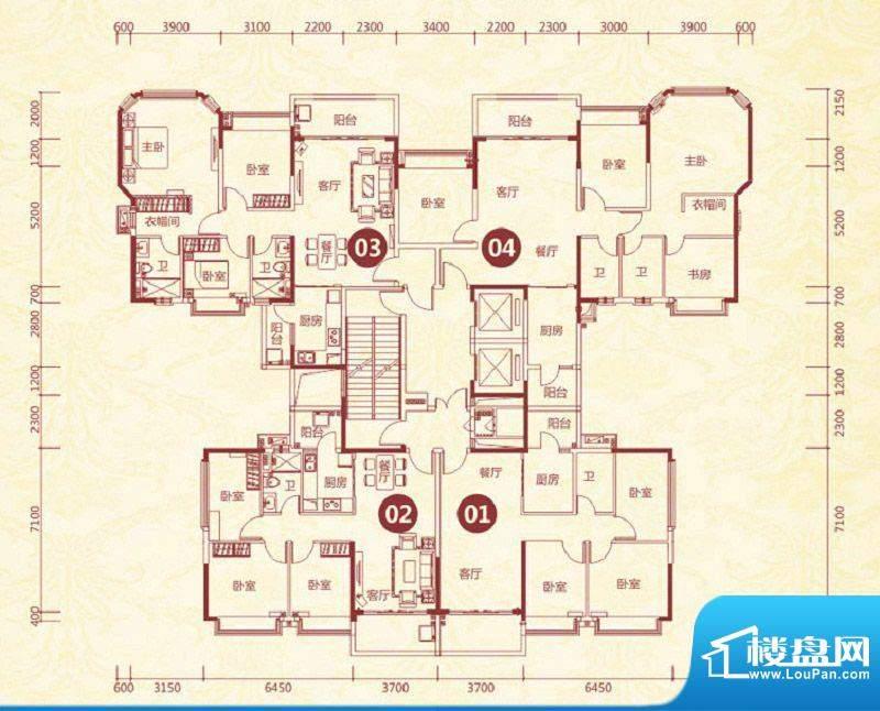 恒大绿洲17号楼标准面积:93.87平米