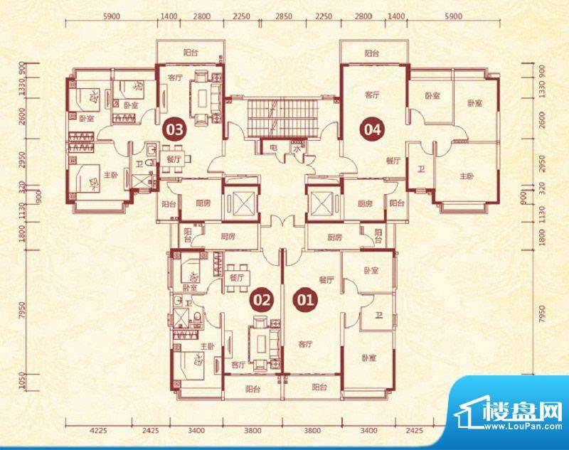 恒大绿洲19号楼标准面积:89.28平米