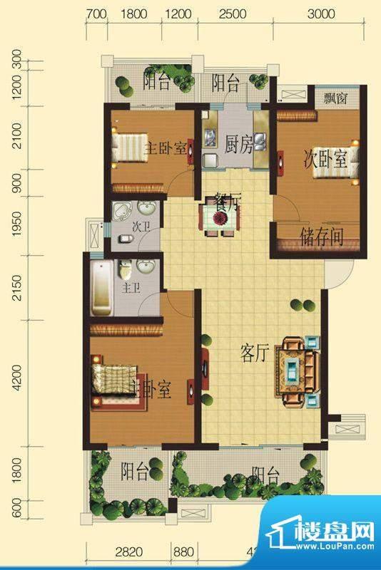 兴业香槟尚城B标准层面积:114.25平米