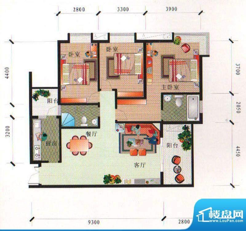 泰合尚渡D1-F型 3室面积:125.31平米