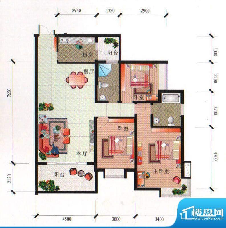 泰合尚渡D1-A型 3室面积:125.31平米