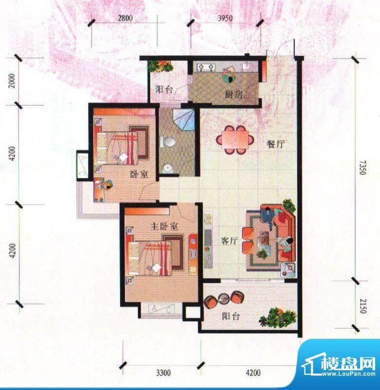 泰合尚渡D2-A型 2室面积:96.59平米