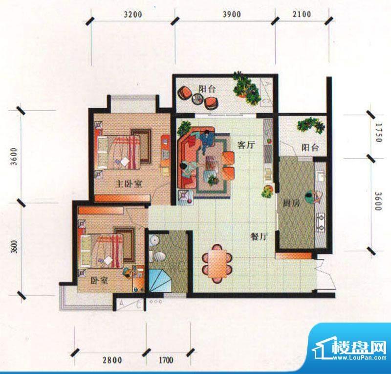 泰合尚渡D3-F型 2室面积:83.00平米