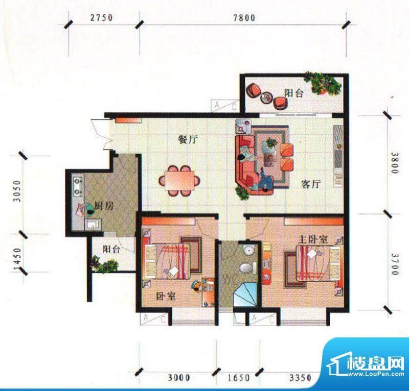 泰合尚渡D2D5-C型 2面积:90.50平米