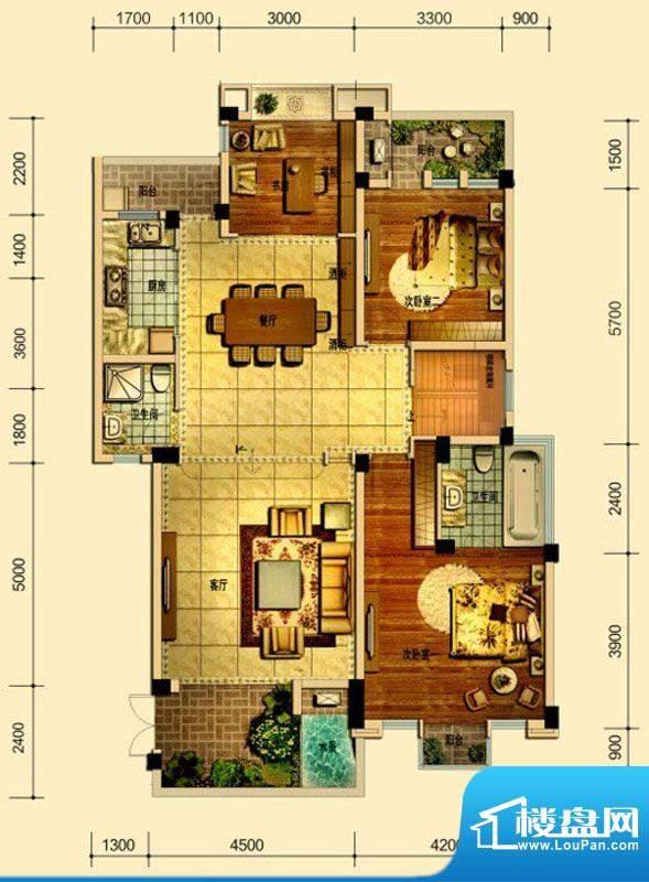 天庐别墅G(洋房5+1面积:165.00平米