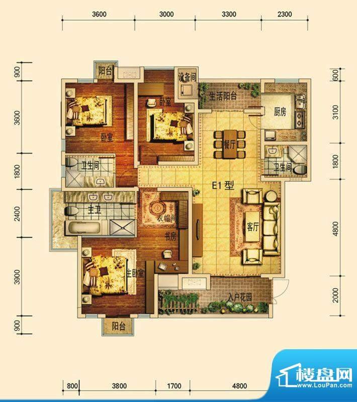 天庐别墅E1B户型(标面积:136.00平米