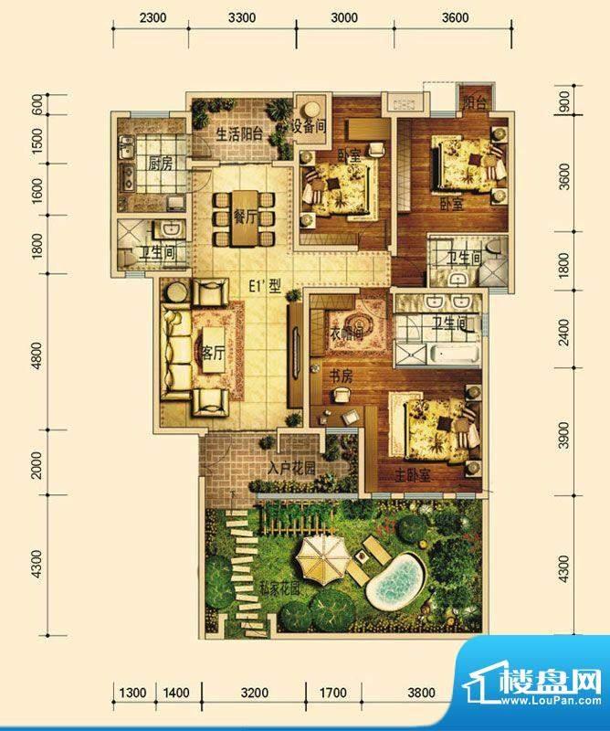 天庐别墅E1A户型(平面积:134.00平米
