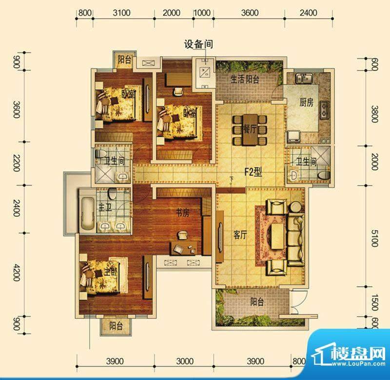 天庐别墅F2户型(标面积:140.00平米