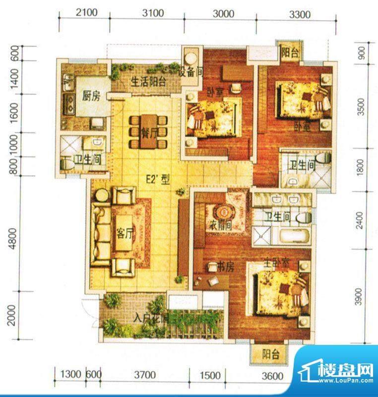 天庐别墅E户型 3室2面积:134.00平米