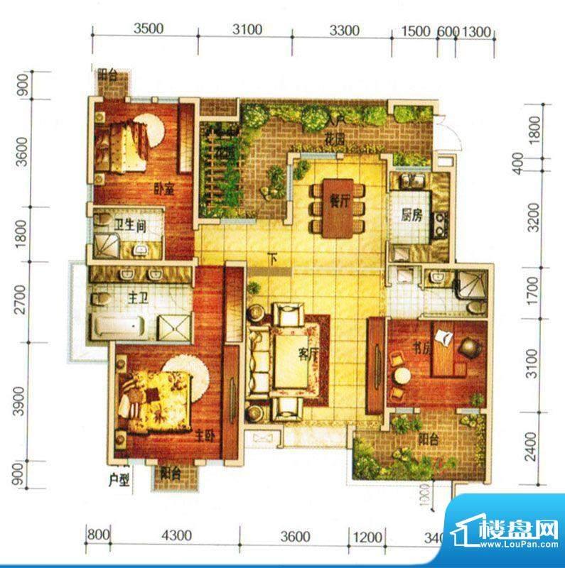天庐别墅D1户型 3室面积:139.00平米