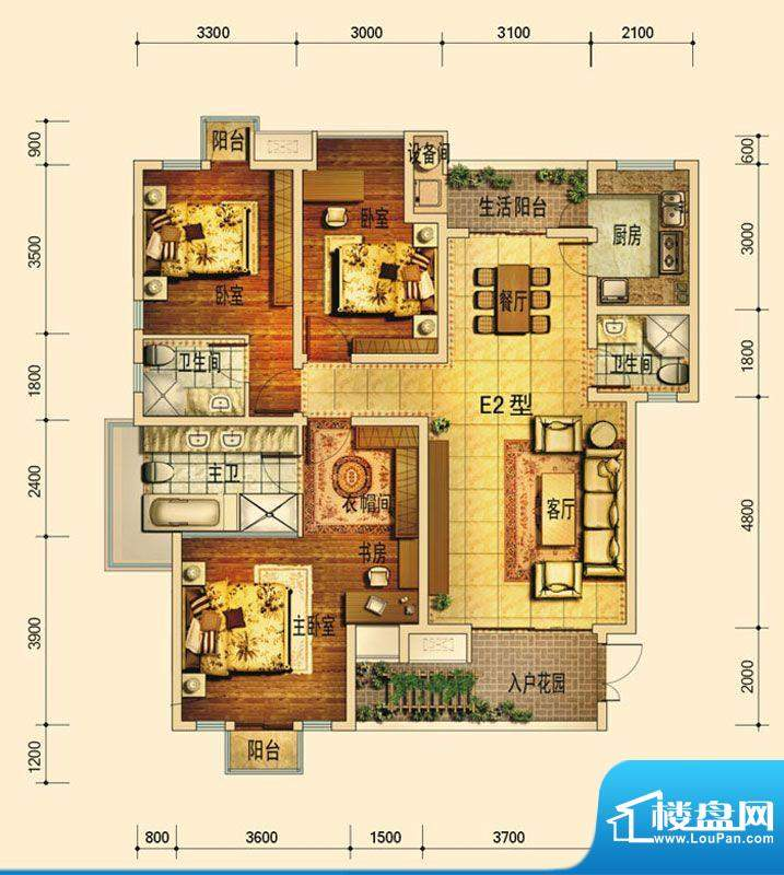 天庐别墅E2B户型(标面积:128.00平米