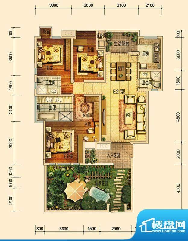 天庐别墅E2B户型(平面积:128.00平米