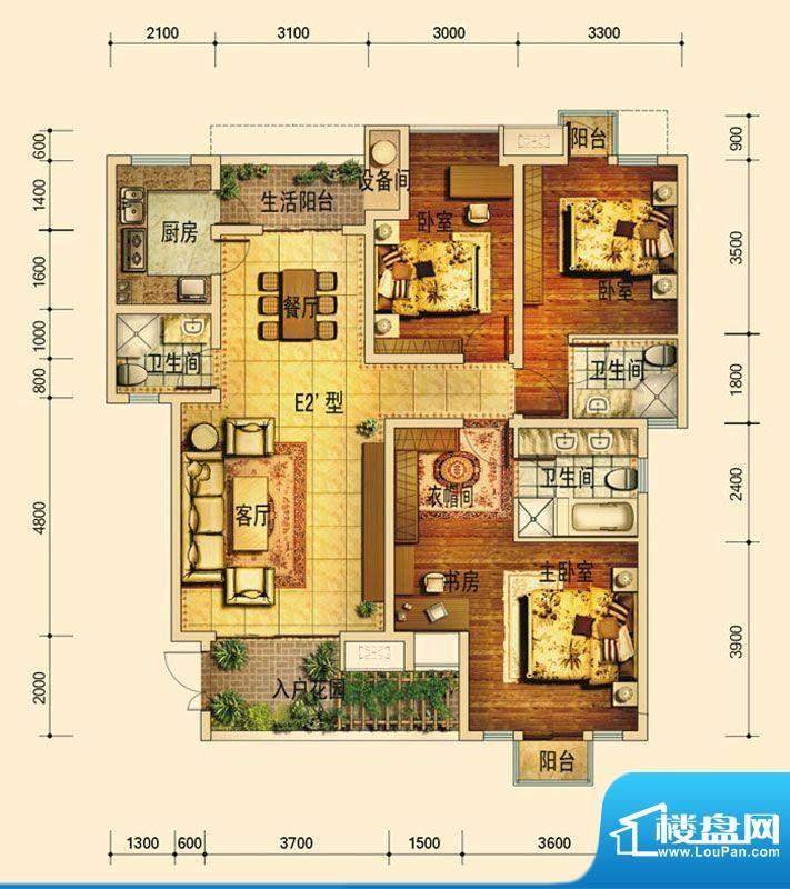 天庐别墅E2A户型(标面积:128.00平米