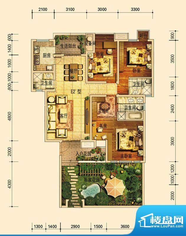 天庐别墅E2A户型(平面积:128.00平米