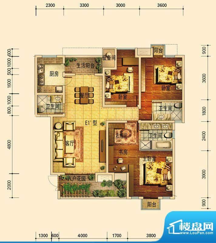 天庐别墅E1A户型(标面积:134.00平米