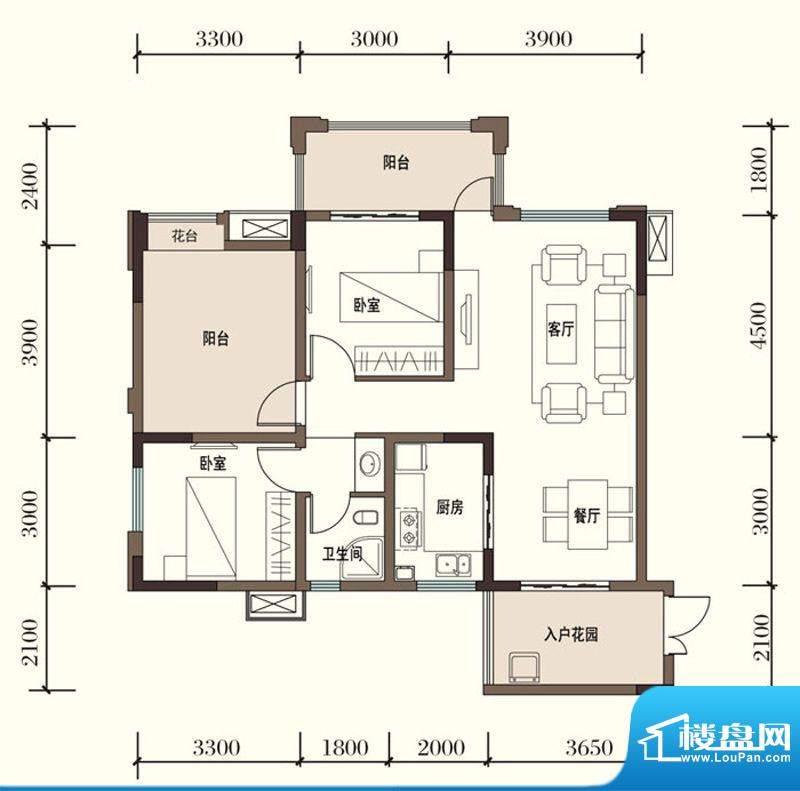 东方国际社区G2-1二面积:90.38平米
