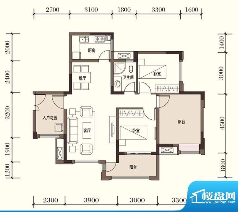 东方国际社区G2-4二面积:89.40平米