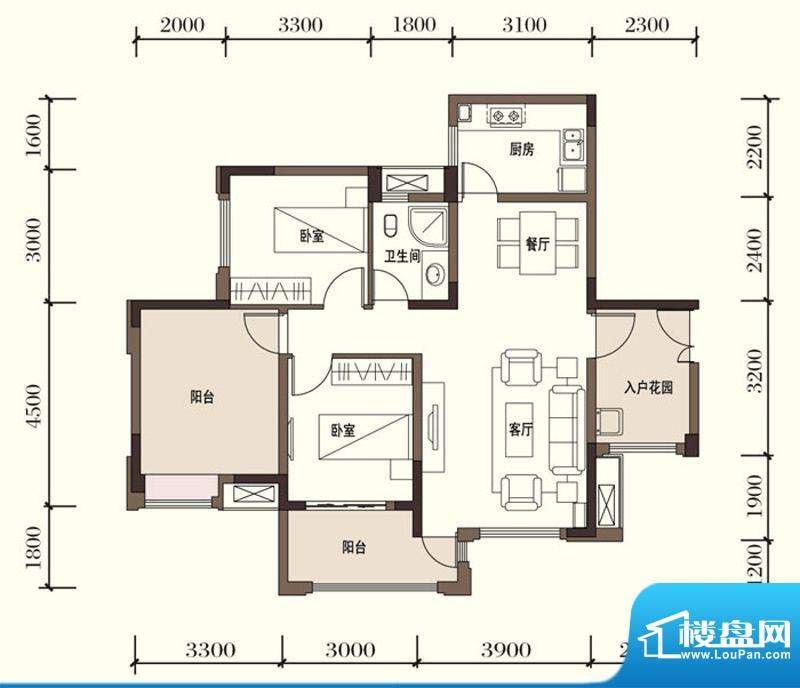 东方国际社区G2-5二面积:91.36平米