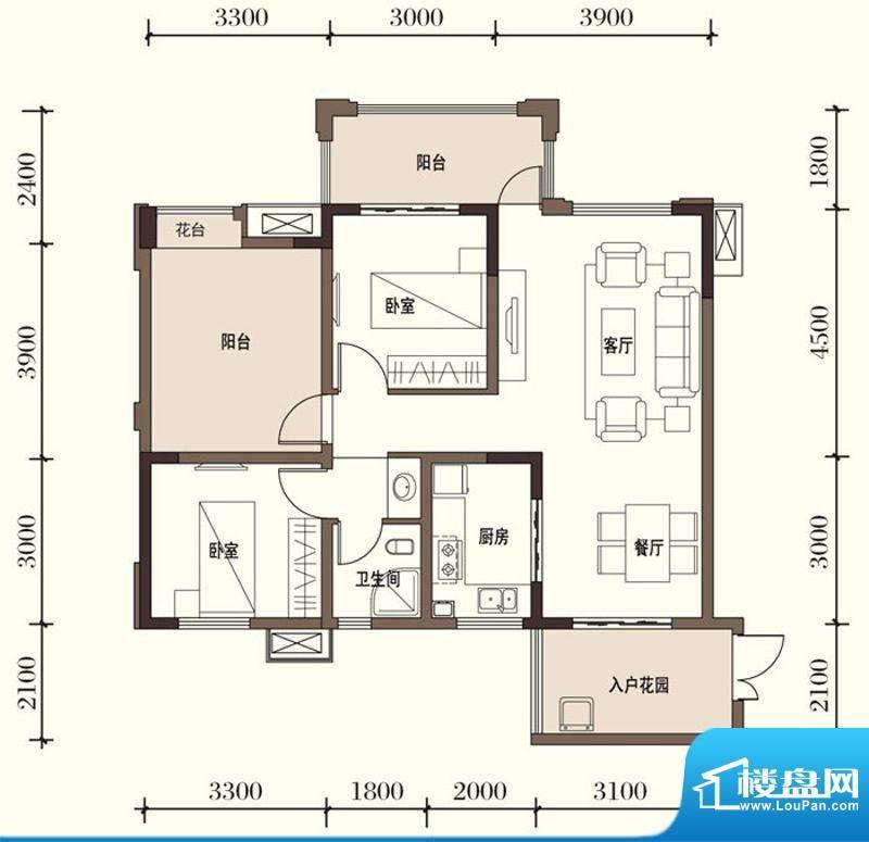 东方国际社区G1-1二面积:89.77平米
