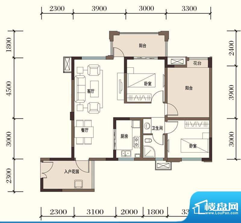 东方国际社区G1-3二面积:90.38平米