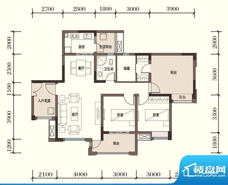 东方国际社区G1-4二面积:100.50平米