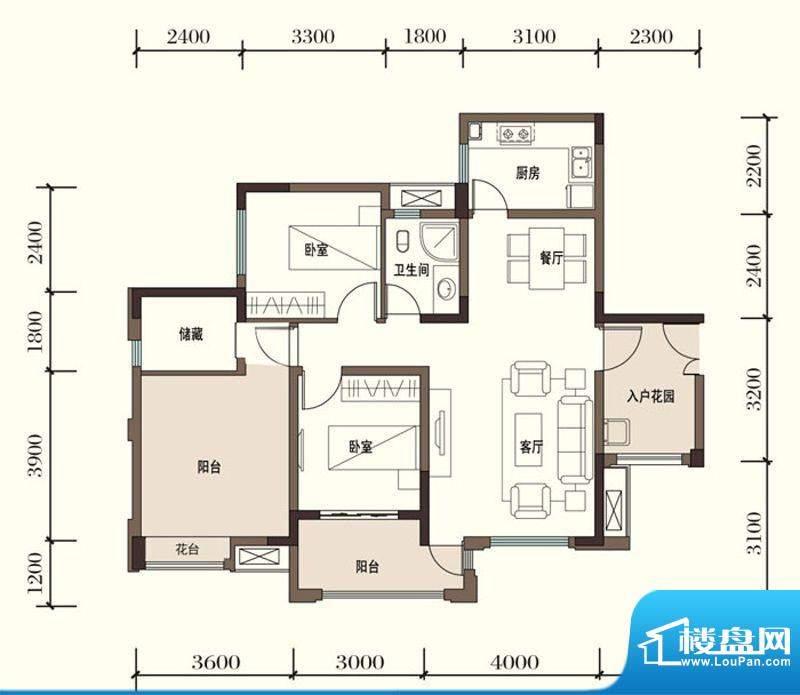 东方国际社区G1-5二面积:97.63平米