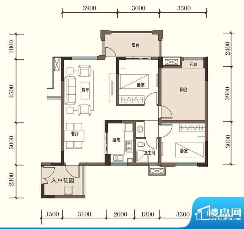 东方国际社区G2-3二面积:90.17平米
