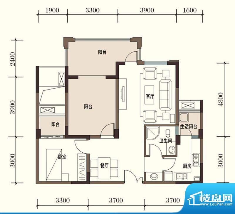 东方国际社区G1-2一面积:77.28平米