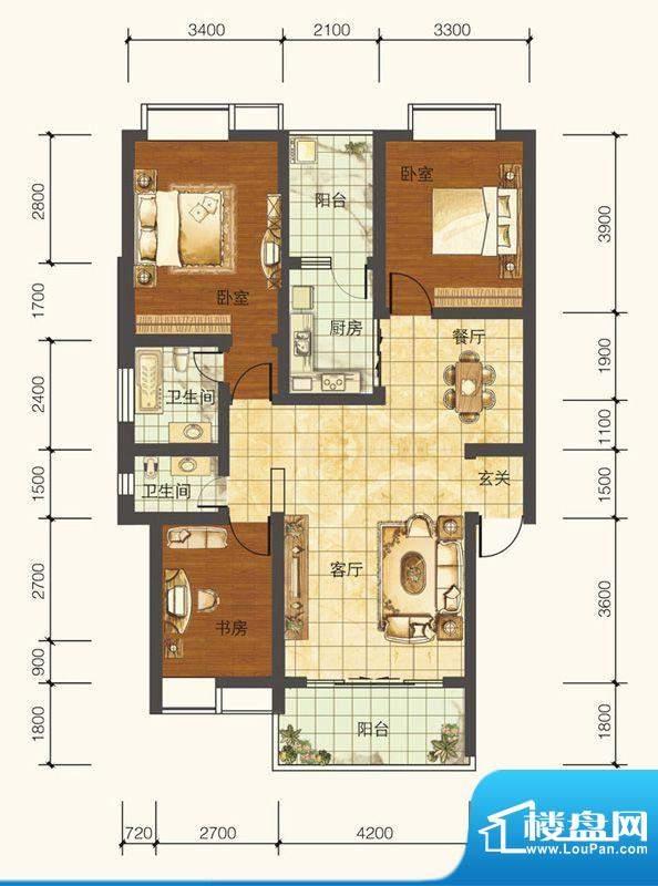 紫御荣庭A1 3室2厅2面积:114.17平米